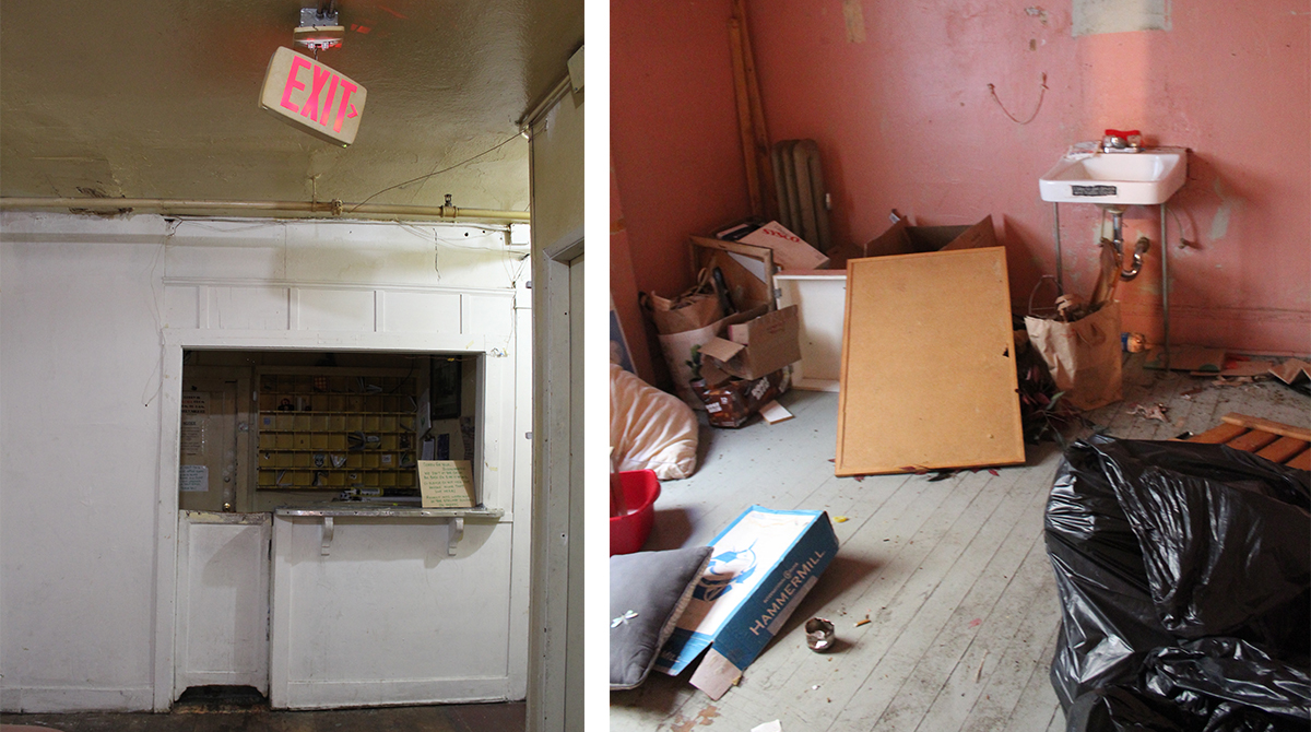 Left photo: A broken exit sign. Right photo: Trash is strewn about a room.