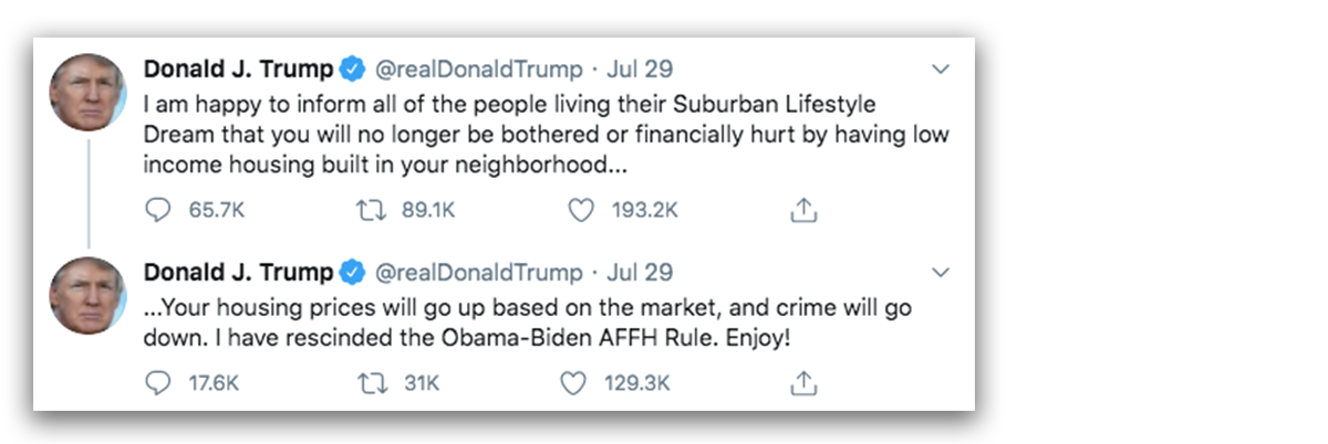 Links to Donald Trump's tweets about fair housing