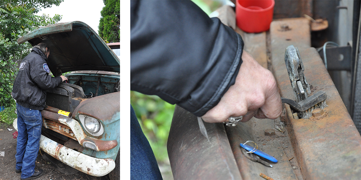 Two photos of Will repairing his truck