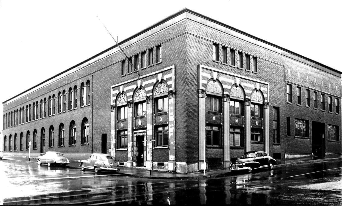 Black and white photo of the building's exterior