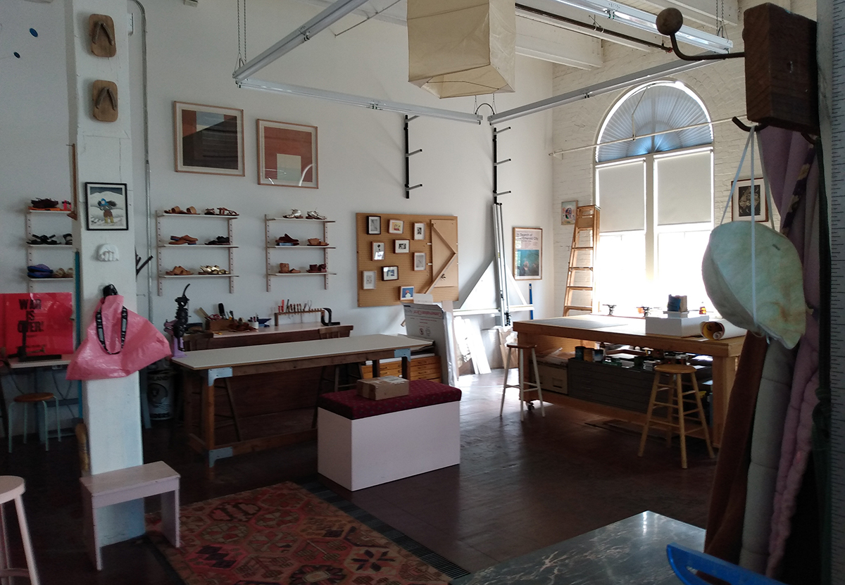 Interior of an art studio at the Yale Union building
