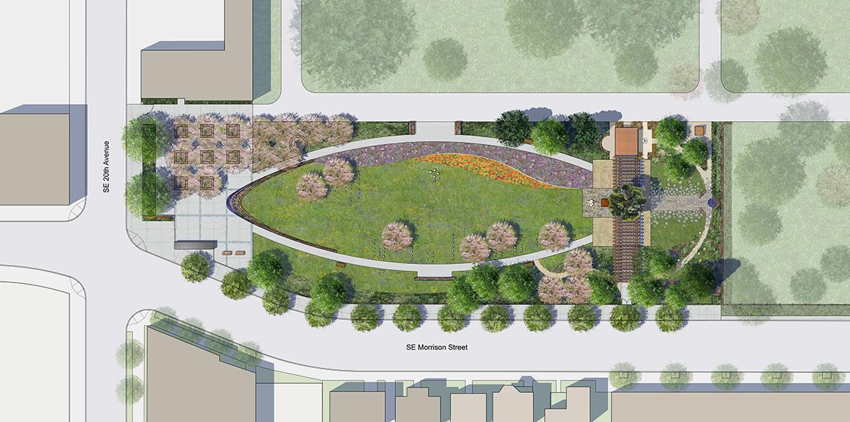 Rendering of the Lone Fir memorial design