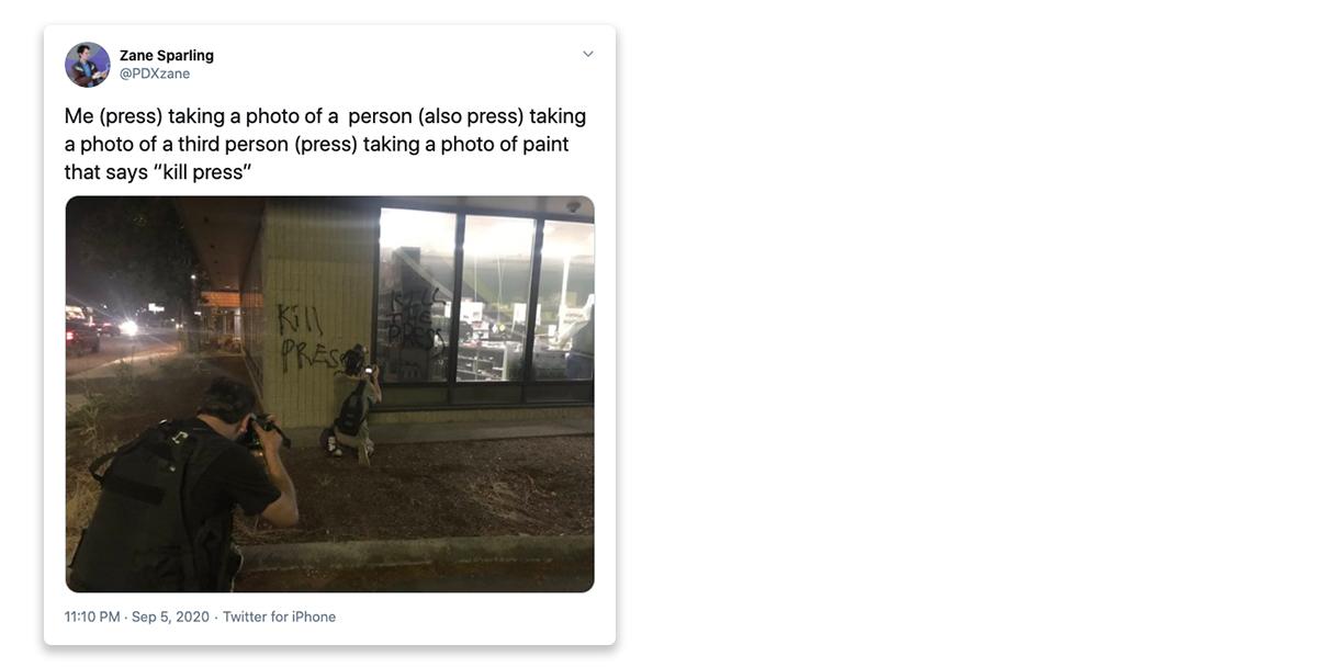 """@PDXzane tweet: Me (press) taking a photo of a  person (also press) taking a photo of a third person (press) taking a photo of paint that says """"kill press"""""""