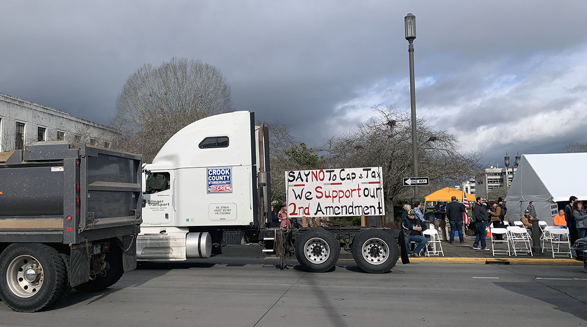A sign on a truck supports the Second Amendment