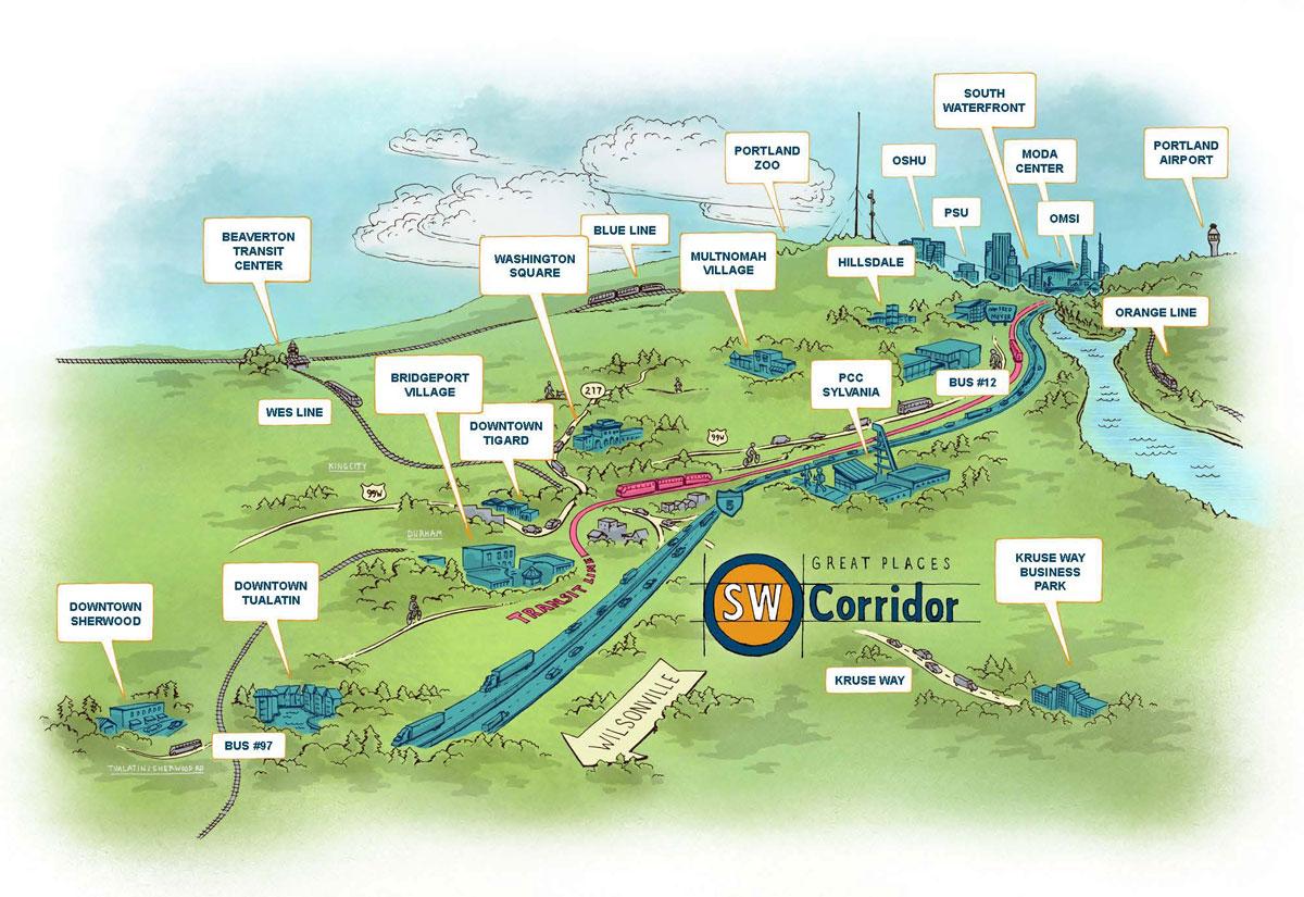 proposed Southwest Corridor MAX route