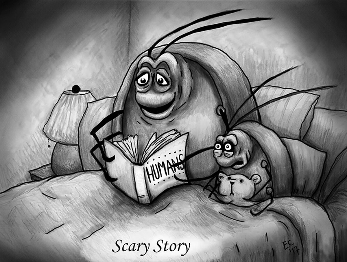Sheeptoast editorial cartoon: Scary Story