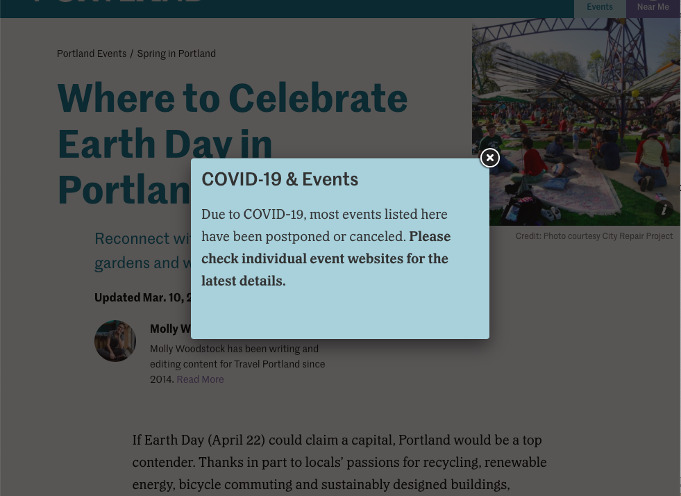 Screenshot of a website's pop-up notification