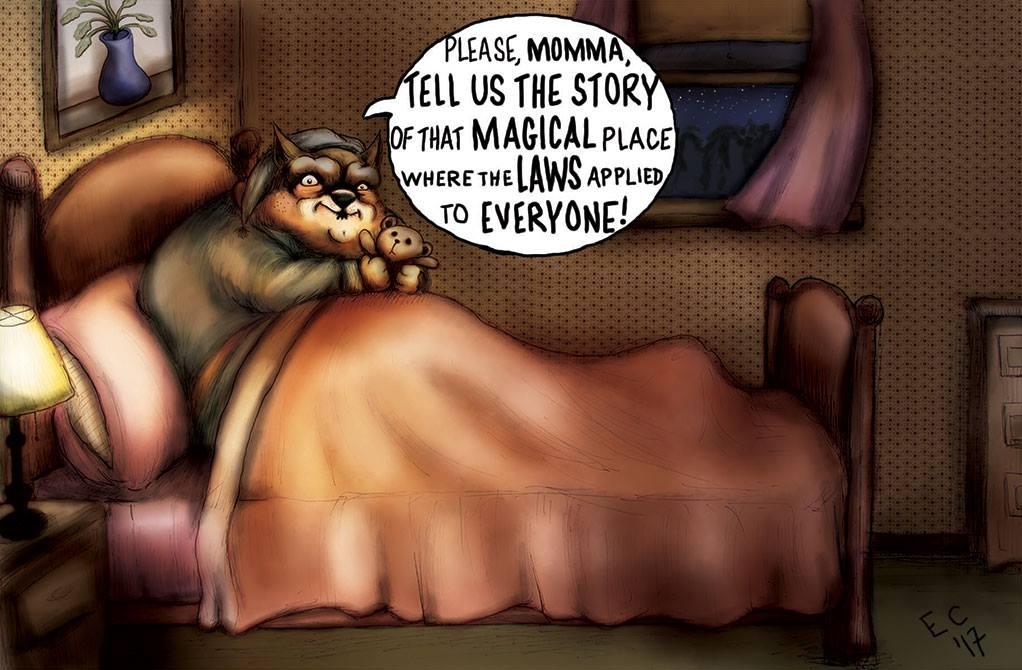 Sheeptoast editorial cartoon: Scary Story