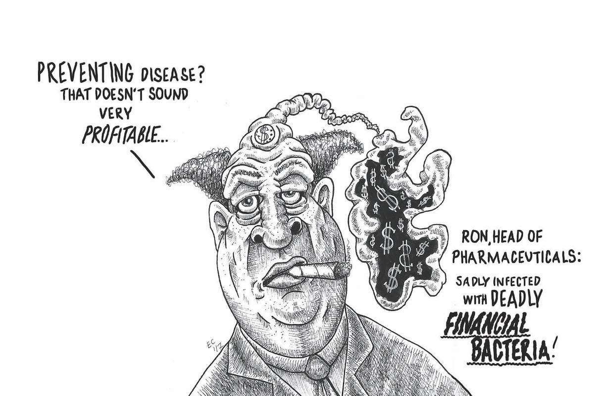 Sheeptoast editorial cartoon: Financial Bacteria