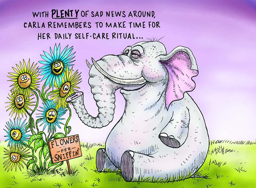 Sheeptoast editorial cartoon: Self-care
