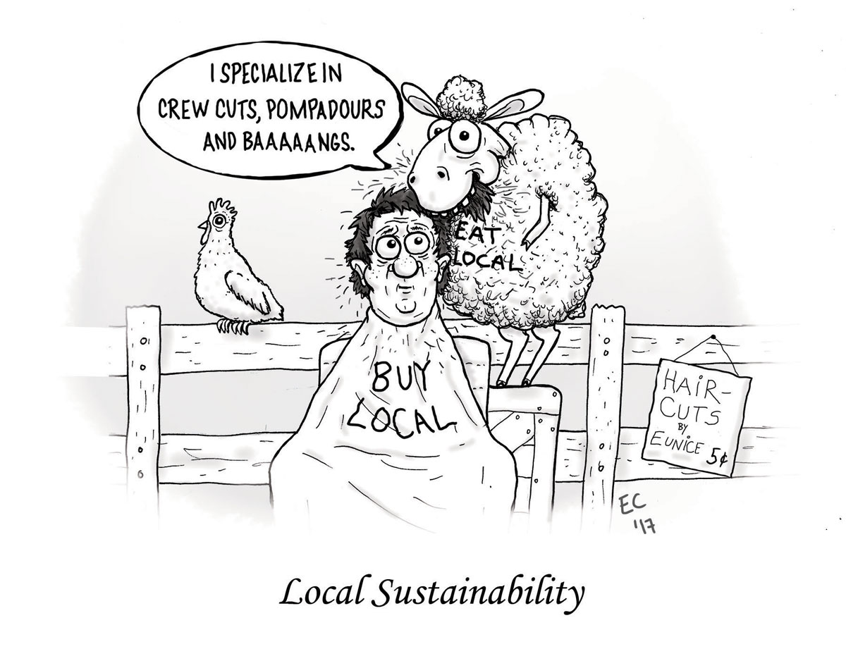 Sheeptoast editorial cartoon: Sustainability