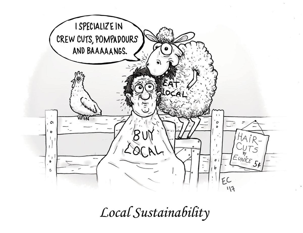 Sheeptoast editorial cartoon: Sustainability