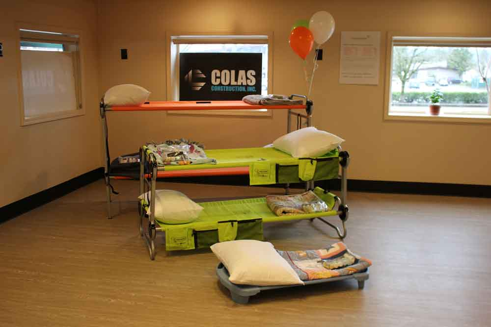 Cots at new shelter