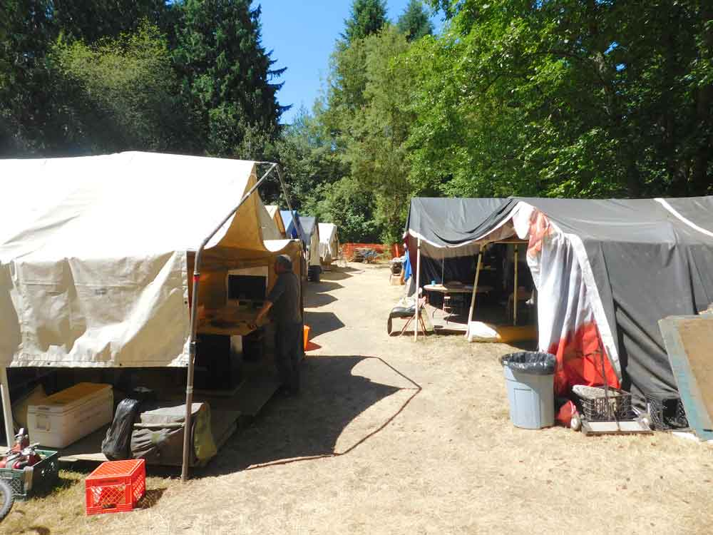 Community and supply tents in Tent City 3, Seattle, Wash.