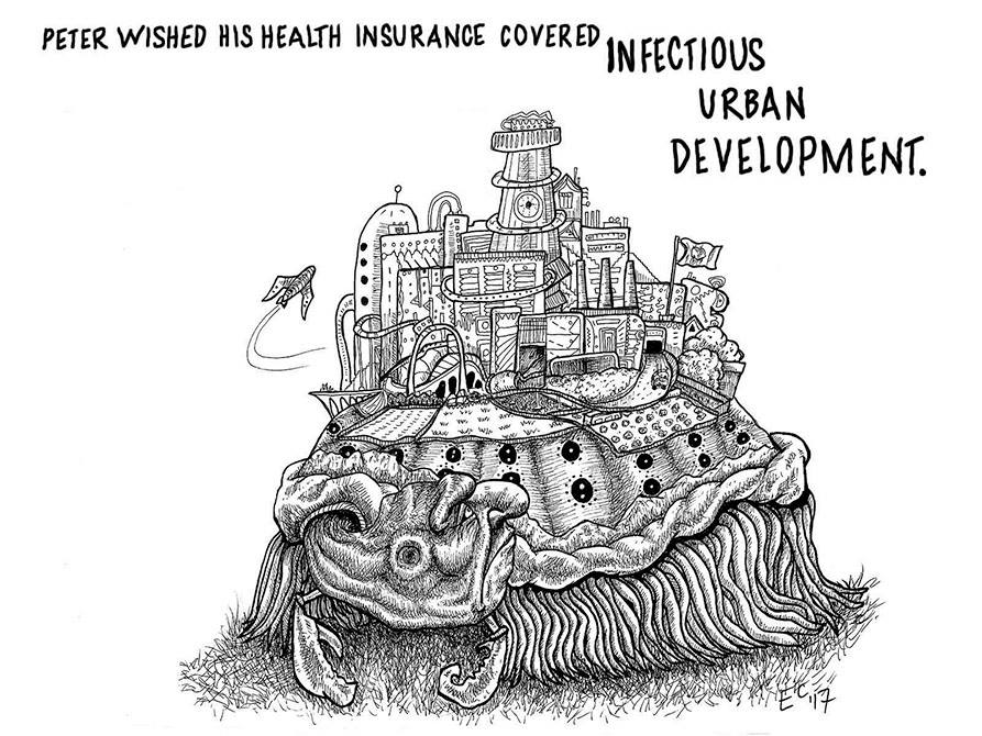 Sheeptoast editorial cartoon: Urban Infection
