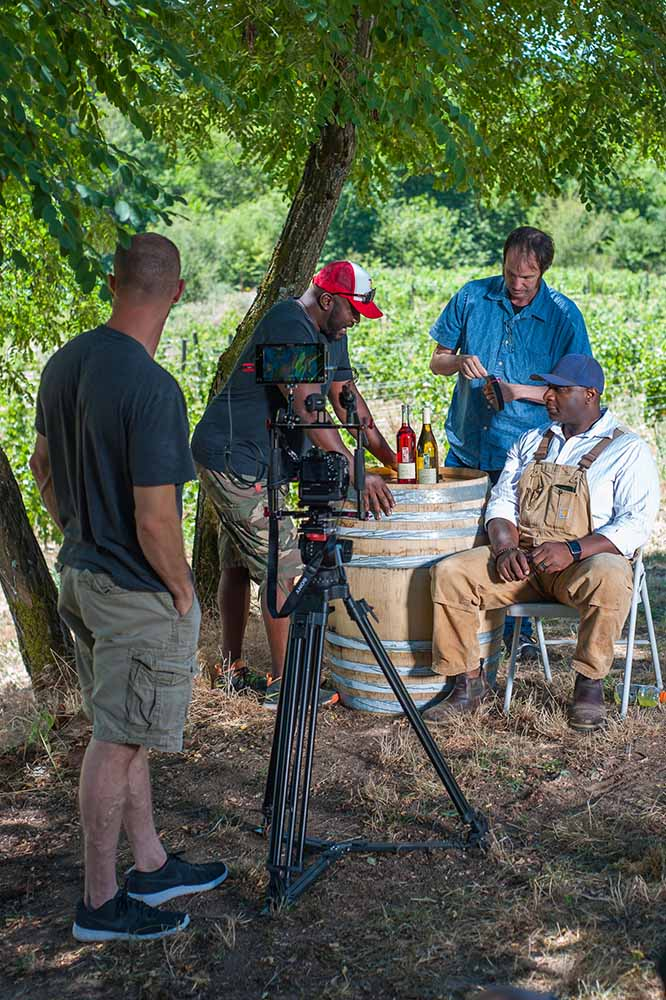 """""""Red, White and Black"""" film crew on set"""