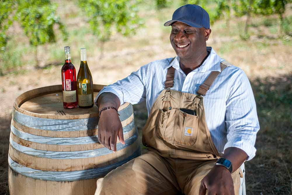 """Winemaker on the set of """"Red, White and Black"""""""