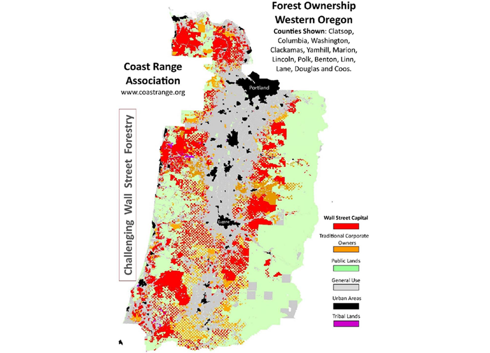 Map showing forest ownership in Western Oregon