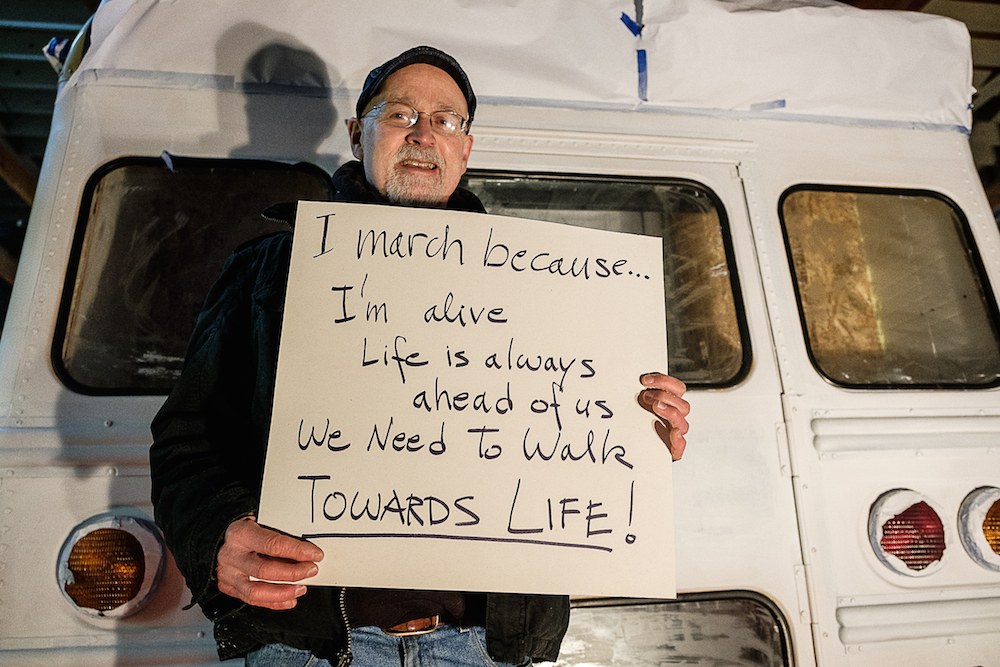 I'm marching because ... I'm alive. Life is always ahead of us. We need to walk toward life.