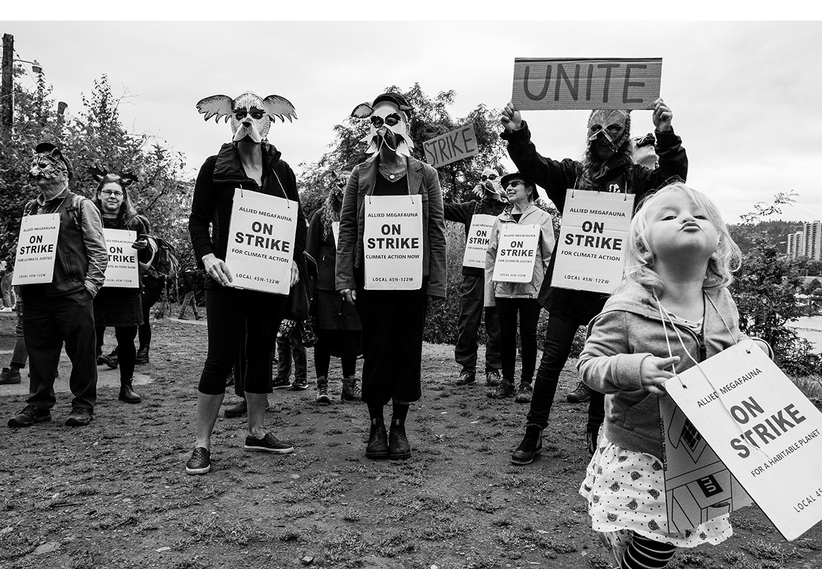 Portland Climate Strike: A child howled in solidarity with the Allied Megafauna wolves.