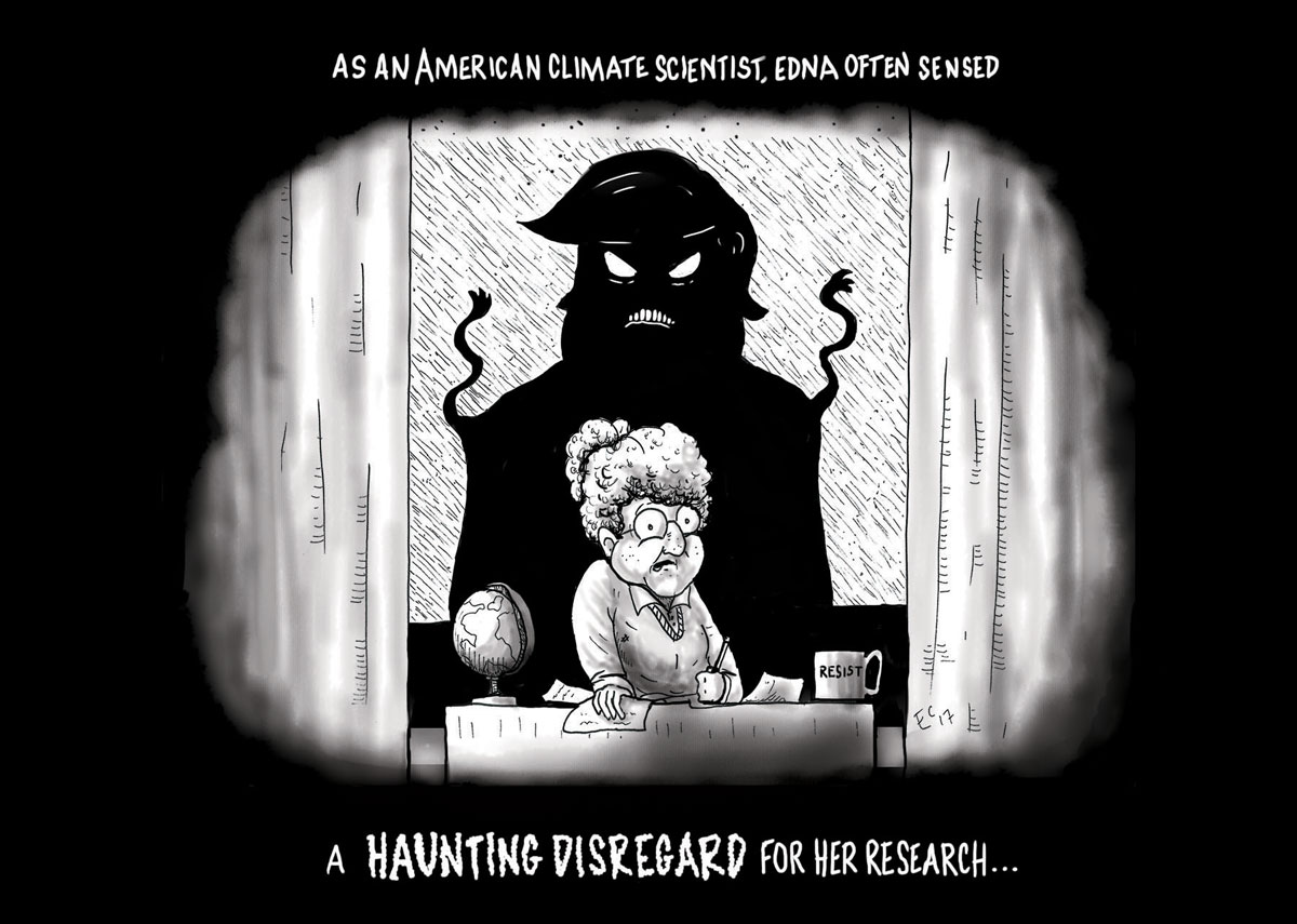 Sheeptoast editorial cartoon: A Haunting Disregard