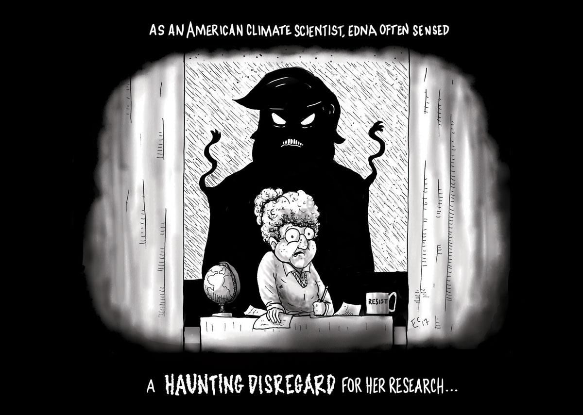 Sheeptoast editorial cartoon: A Haunting Disregard
