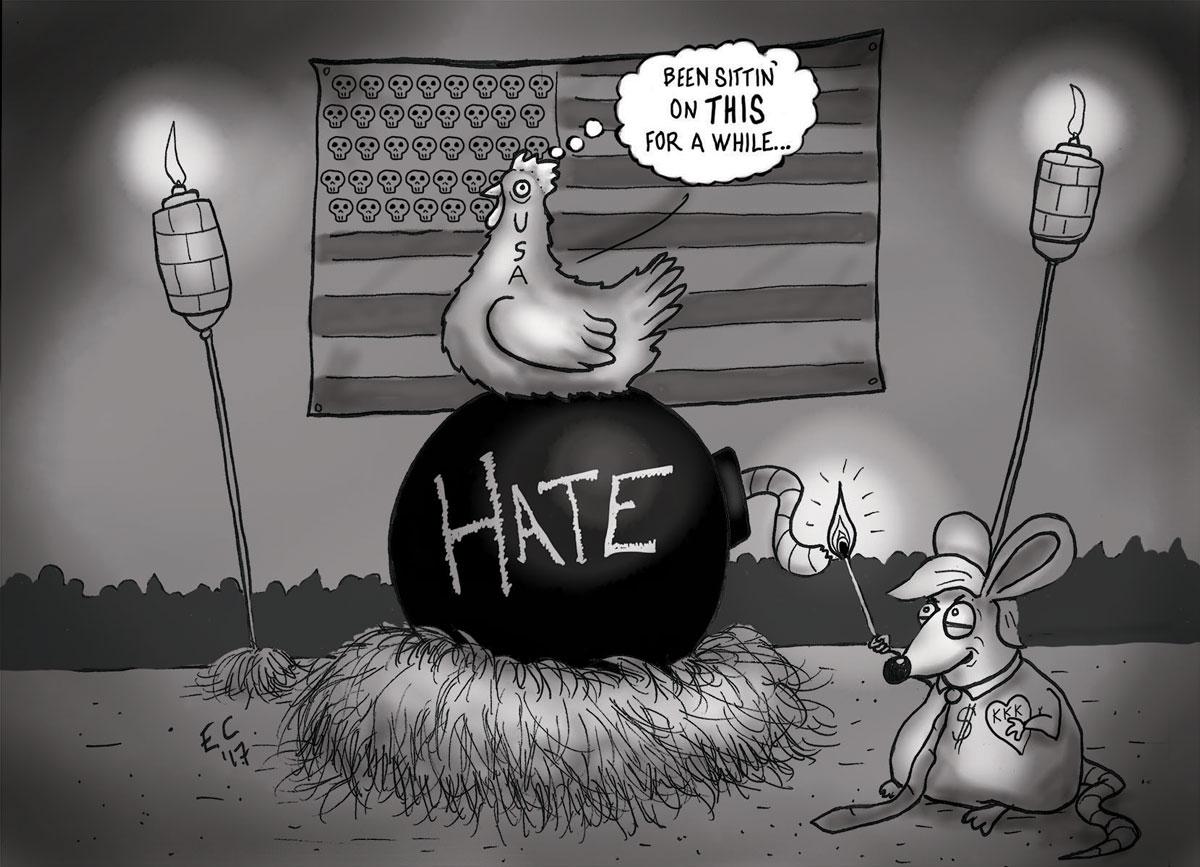 Sheeptoast editorial cartoon: Charlottesville