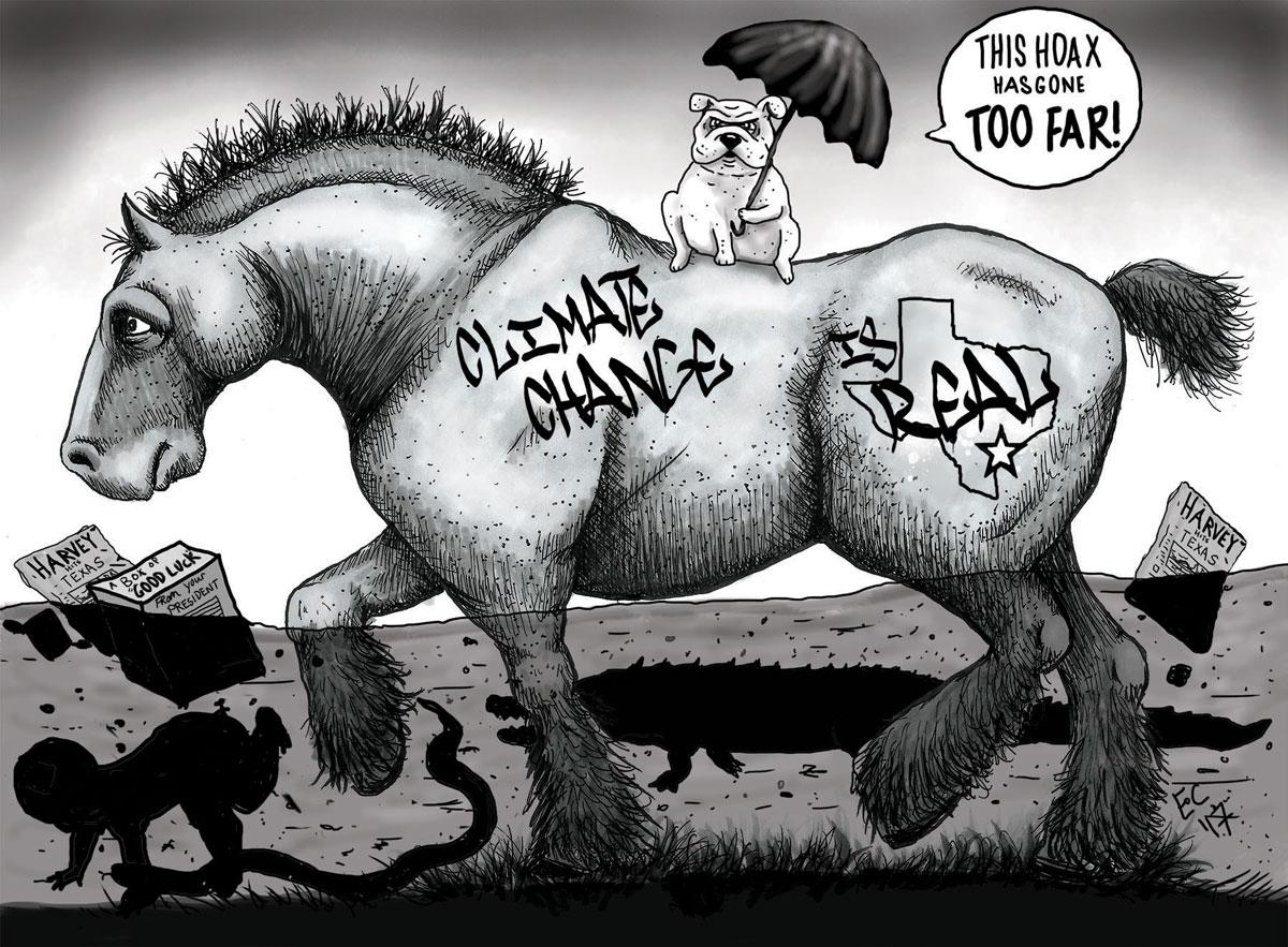 Sheeptoast editorial cartoon: Hurricane Harvey