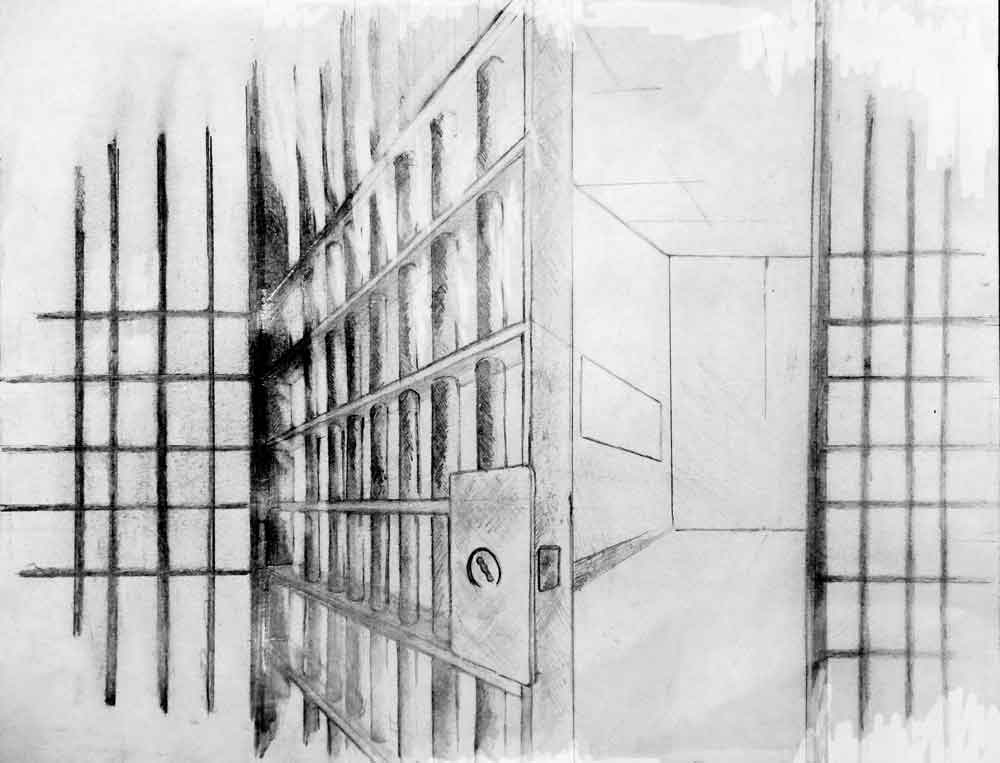 Illustration of empty prison cell