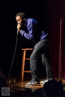 Baron Vaughn performing in Minority Retort, a comedy show featuring a cast of minority stand-ups now playing at the Curious Comedy Theater.