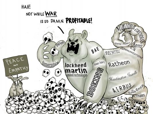 Sheeptoast editorial cartoon: Defense Contracts Conundrum