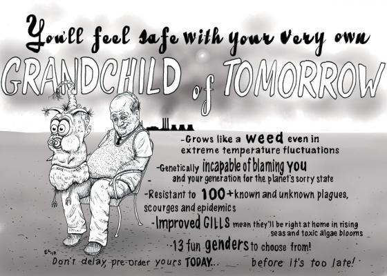 Sheeptoast editorial cartoon: Grandchild of Tomorrow