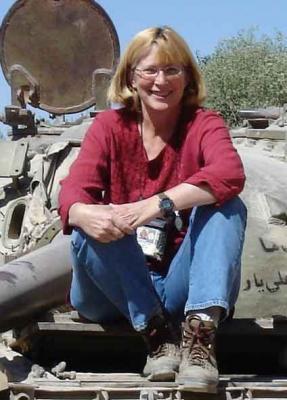 Inge Fryklund on a U.S. tank in Afghanistan