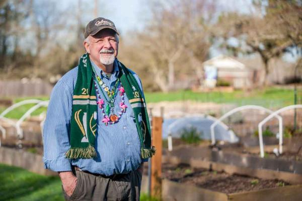 Jim Serrill in the community garden