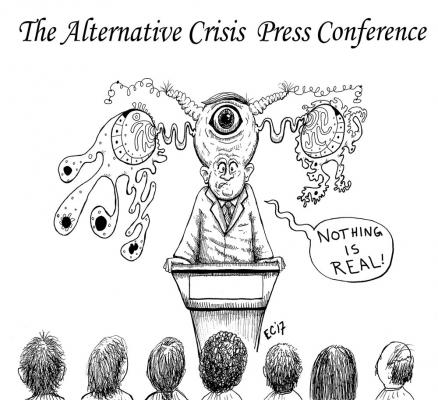 Editorial cartoon: The alternative crisis press conference