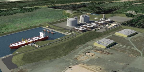 Artist rendering of Jordan Cove LNG terminal
