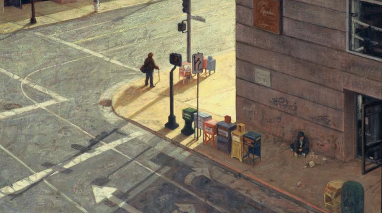 Painting of a street corner
