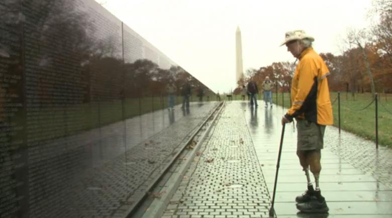 S. Brian Willson at Vietnam memorial