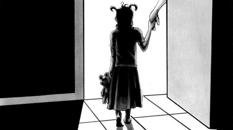 A foster child holds someone's hands as she stands in a doorway