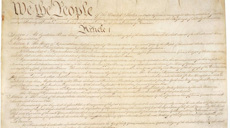 The beginning of the U.S. Constitution