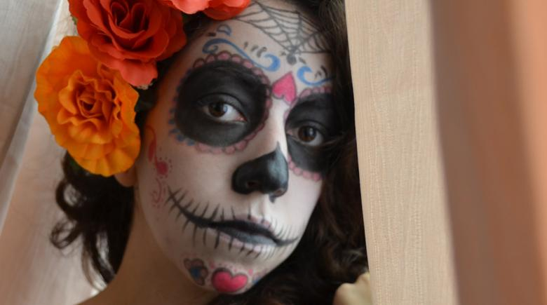 Face painted for Day of the Dead
