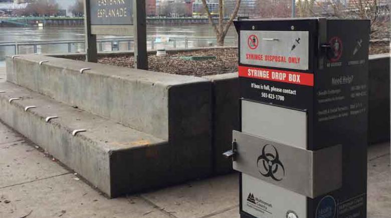 Syringe disposal box in Portland