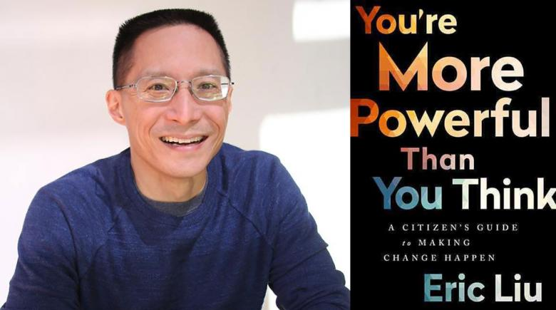 Eric Liu portrait and cover of his book
