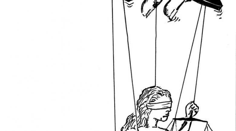 Illustration: Hand of a D.A. controls a puppet of the justice system