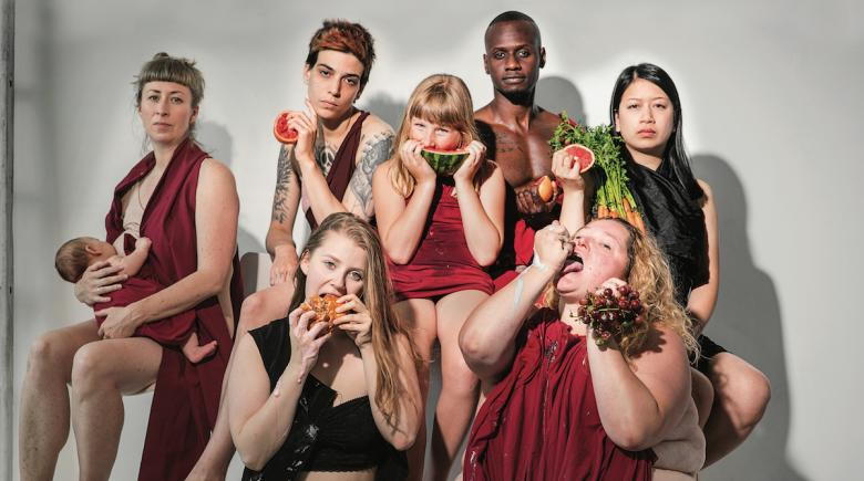 Portrait of people with different body types, eating different foods