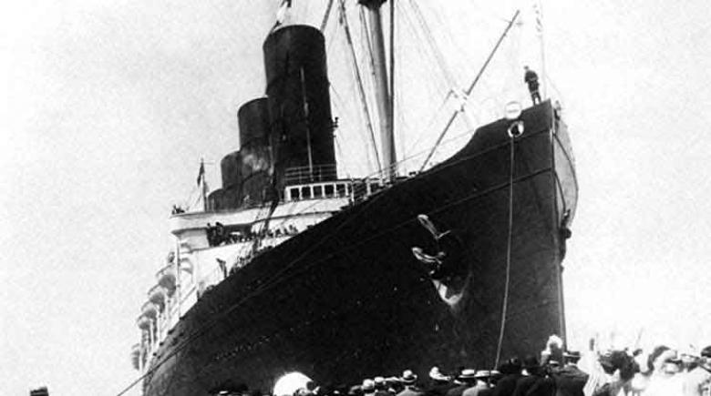 The Lusitania. The luxury ocean liner was sunk on May 7, 1915, by German submarine U-20 off the Irish coast.