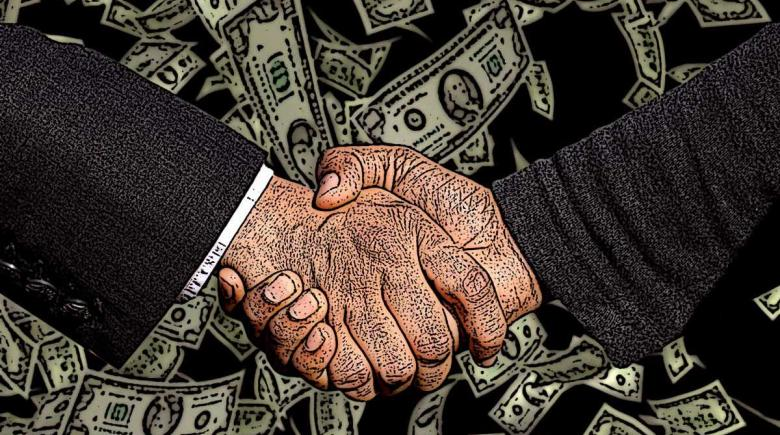 Image of two white male hands shaking with dollar bills floating in the background