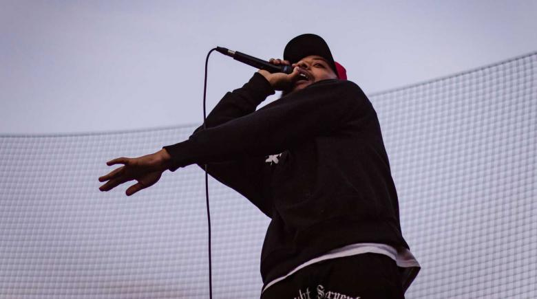 Portland hip hop artist Bocha performs on June 7 at Irving Park in Northeast Portland after a march led by Rose City Justice.