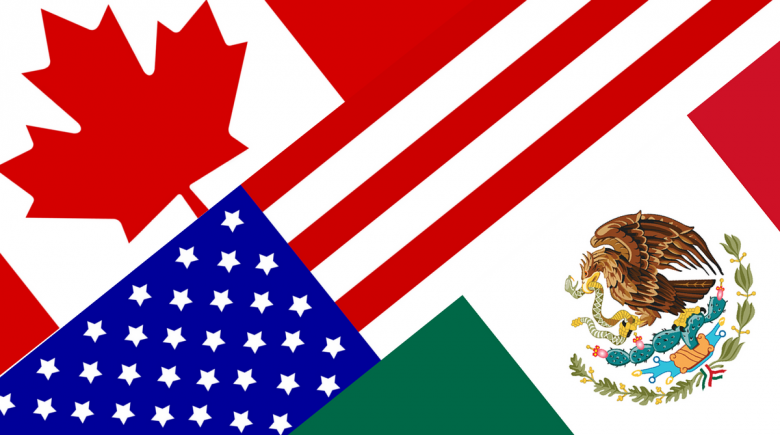 Montage of Canadian, U.S. and Mexican flags