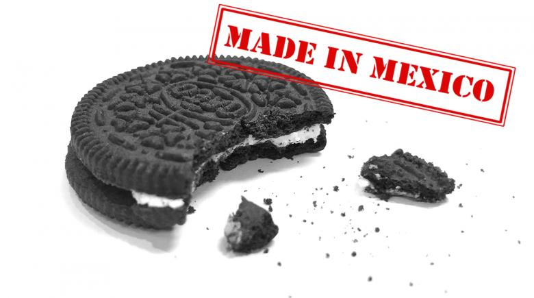 """Oreo cookie with """"Made In Mexico"""" stamp"""